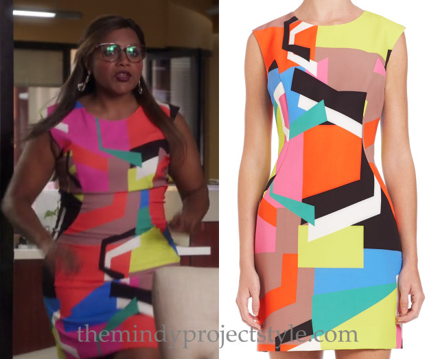 """Mindy's multicolored colorblock dress from """"The Greatest Date in the World""""! Milly Graphic Print Sheath Dress"""