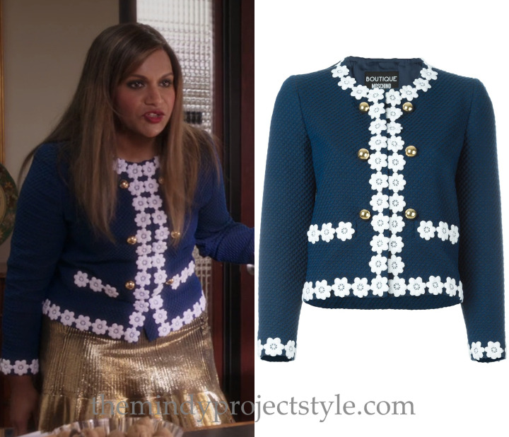 "Mindy's navy daisy trimmed jacket from ""The Greatest Date in the World""! First seen here. Boutique Moschino Flower Trim Cropped Jacket - $540 (was $1,350)"