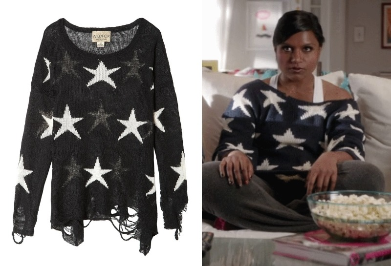 Mindy loves this relaxed Wildfox star sweater - we saw her wear it in red in the pilot! Wildfox Seeing Stars Lennon Sweater in Black - $74 (was $198) Worn with Wildfox sweatpants