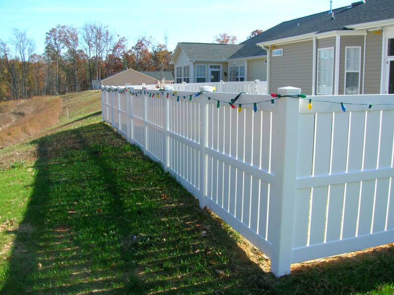 backyard white PVC fence
