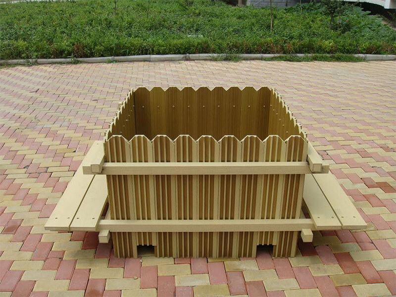 public area wood plastic composite flower boxes