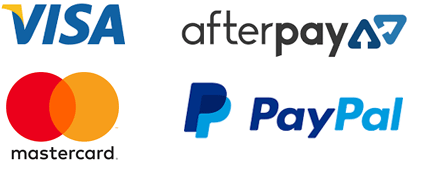 We accpet Visa, Mastercard, PayPal and Afterpay
