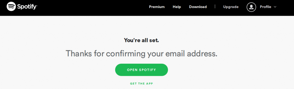Spotify Email Conformation