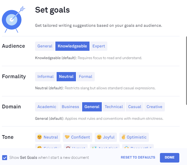 This is the Set Goals option in Grammarly.