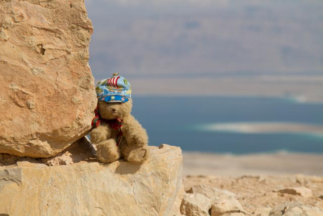 Hamish on the wall in front of the view to the Dead Sea