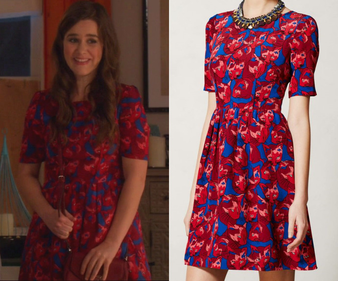 """Betsy's cat print dress from """"Be Cool""""! Anthropologie Cheshire Dress (sold out)"""