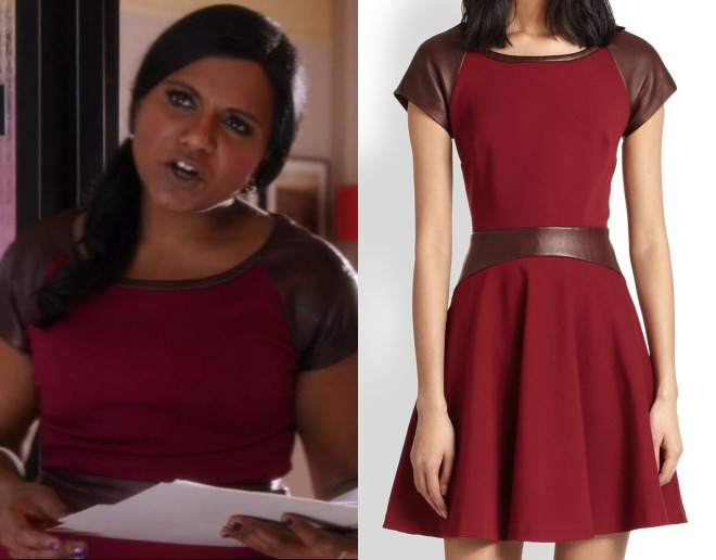 """Mindy wore this red dress with leather details in the first of tonight's episodes of The Mindy Project, """"Be Cool"""". Diane Von Furstenberg Delyse Leather Combo Dress - $349 (was $498, black)"""