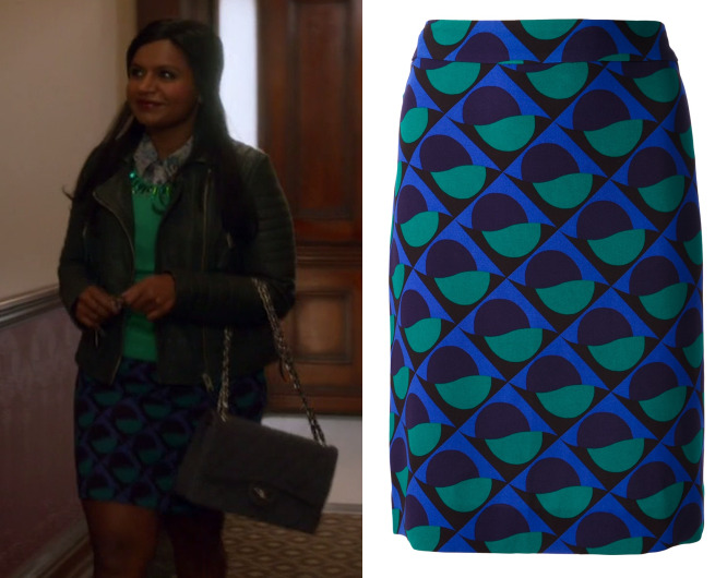 """Mindy works this retro print pencil skirt in """"Be Cool"""" Marc by Marc Jacobs Etta Skirt (sold out, available in red here) Worn with C.Wonder sweater and All Saints jacket"""