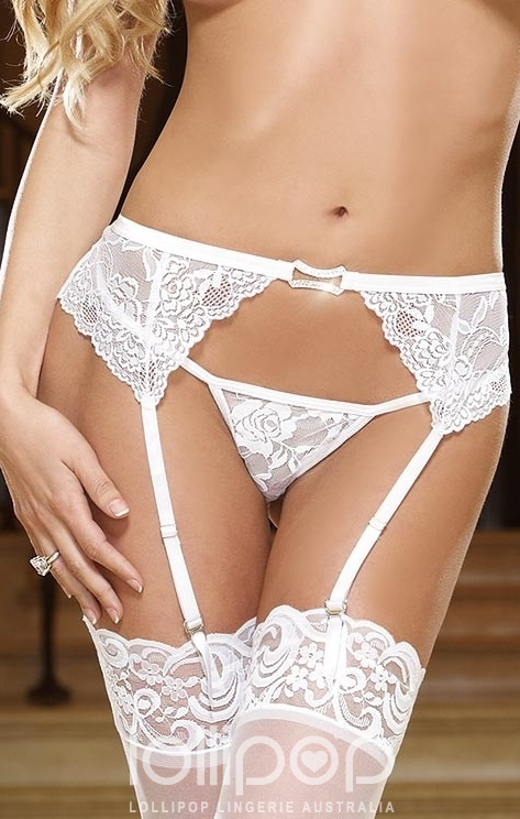 Rhinestone Lingerie And All That Dazzles - Sensual Sparkle Garter Belt in white