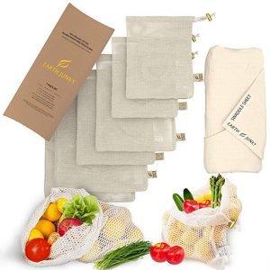 Earth Junky Reusable Produce Bags in Mesh & Muslin