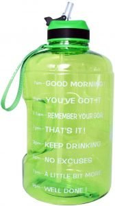 QuiFit Gallon Water Bottle with Straw and Motivational Time Marker
