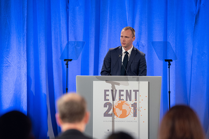 Ryan Morhard, JD, speaking at Event 201 on October 18, 2019 in New York, NY.