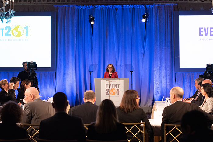 Anita Cicero, JD, speaking at Event 201 on October 18, 2019 in New York, NY.