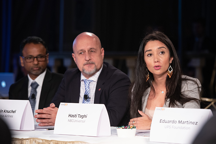Hasti Taghi speaking to the players at Event 201 on October 18, 2019 in New York, NY.