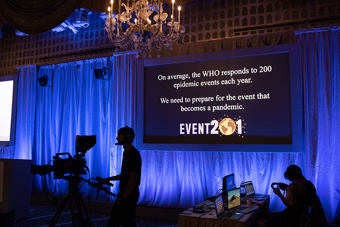 Event 201, a high-level pandemic exercise on October 18, 2019, in New York, NY