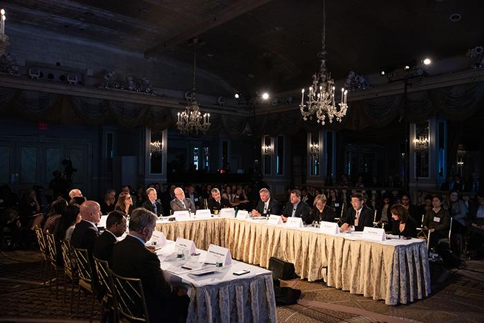 The table of players at Event 201 on October 18, 2019 held in New York, NY.