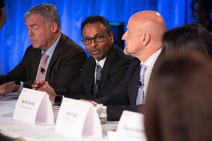Lavan Thiru speaking to the players at Event 201 on October 18, 2019 in New York, NY.