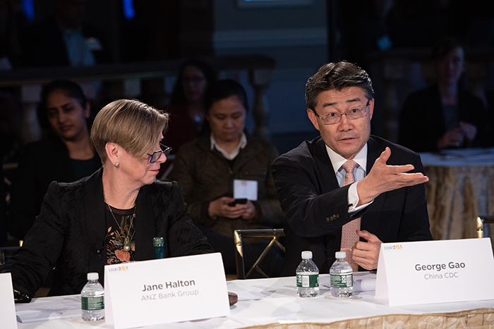 George Gao speaking to the players at Event 201 on October 18, 2019 in New York, NY.