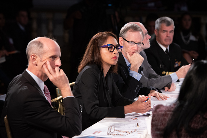 The players listening to information at Event 201 on October 18, 2019 in New York, NY.