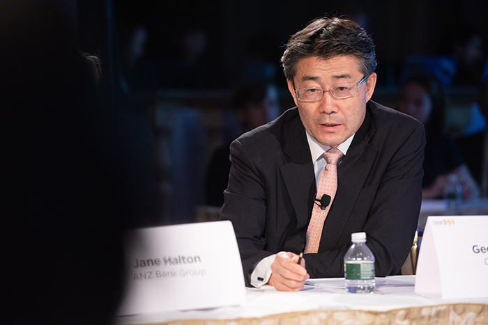 George Gao peaking at Event 201 on October 18, 2019 in New York, NY.