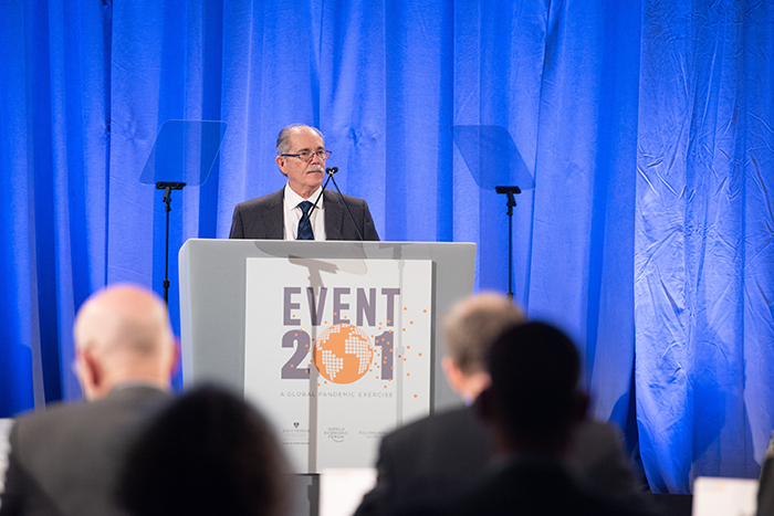 Eric Toner, MD, speaking at Event 201 on October 18, 2019 in New York, NY.
