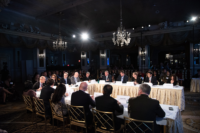 The table of players t Event 201 on October 18, 2019 in New York, NY.