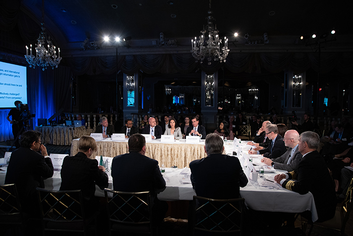 The table of players at Event 201 on October 18, 2019 in New York, NY.