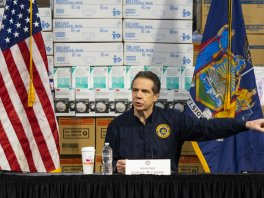 New York Governor Andrew Cuomo speaks to the media at the Javits Convention Center on 24 March