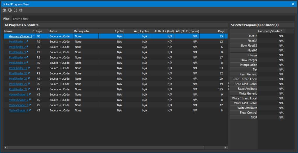 Nsight linked program view image