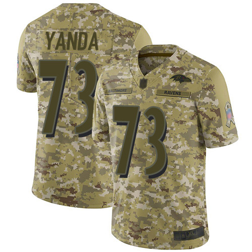 Men's Marshal Yanda Camo Limited Football Jersey: Baltimore Ravens #73 2018 Salute to Service  Jersey