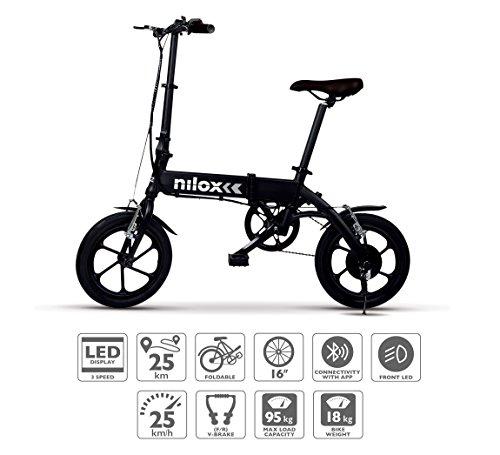 "Nilox ebike X2 Plus Plegable Ruedas 16""; Adulto, Unisex, Eléctrica, Negro"