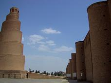 The famous spiral minaret of Samarra, Iraq. It is set apart from the mosque building.