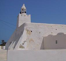 Country mosque in typical style of Jerba island, Tunisia.