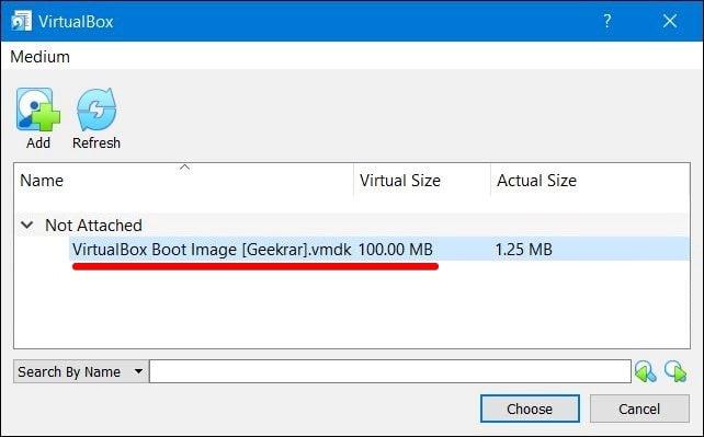 Choose VirtualBox Boot Image