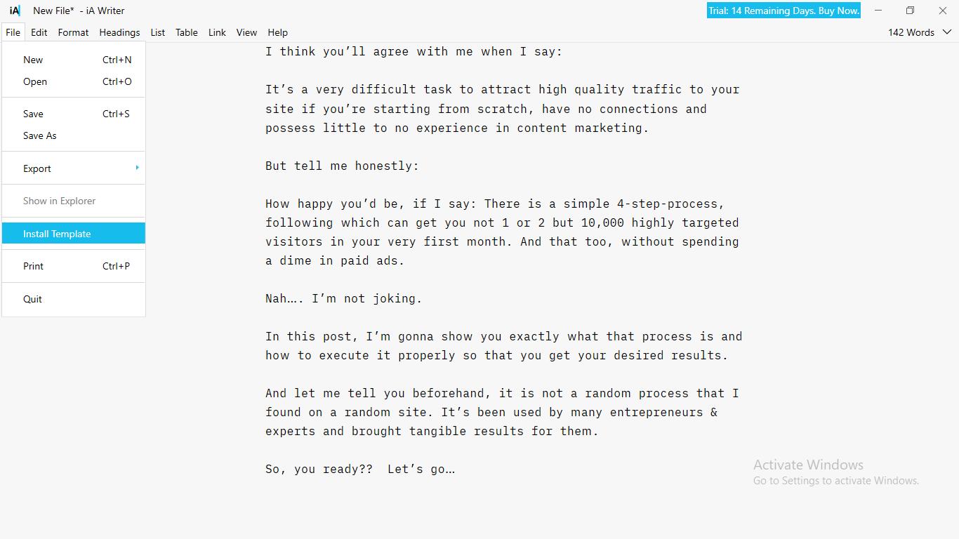 iA Writer sample template