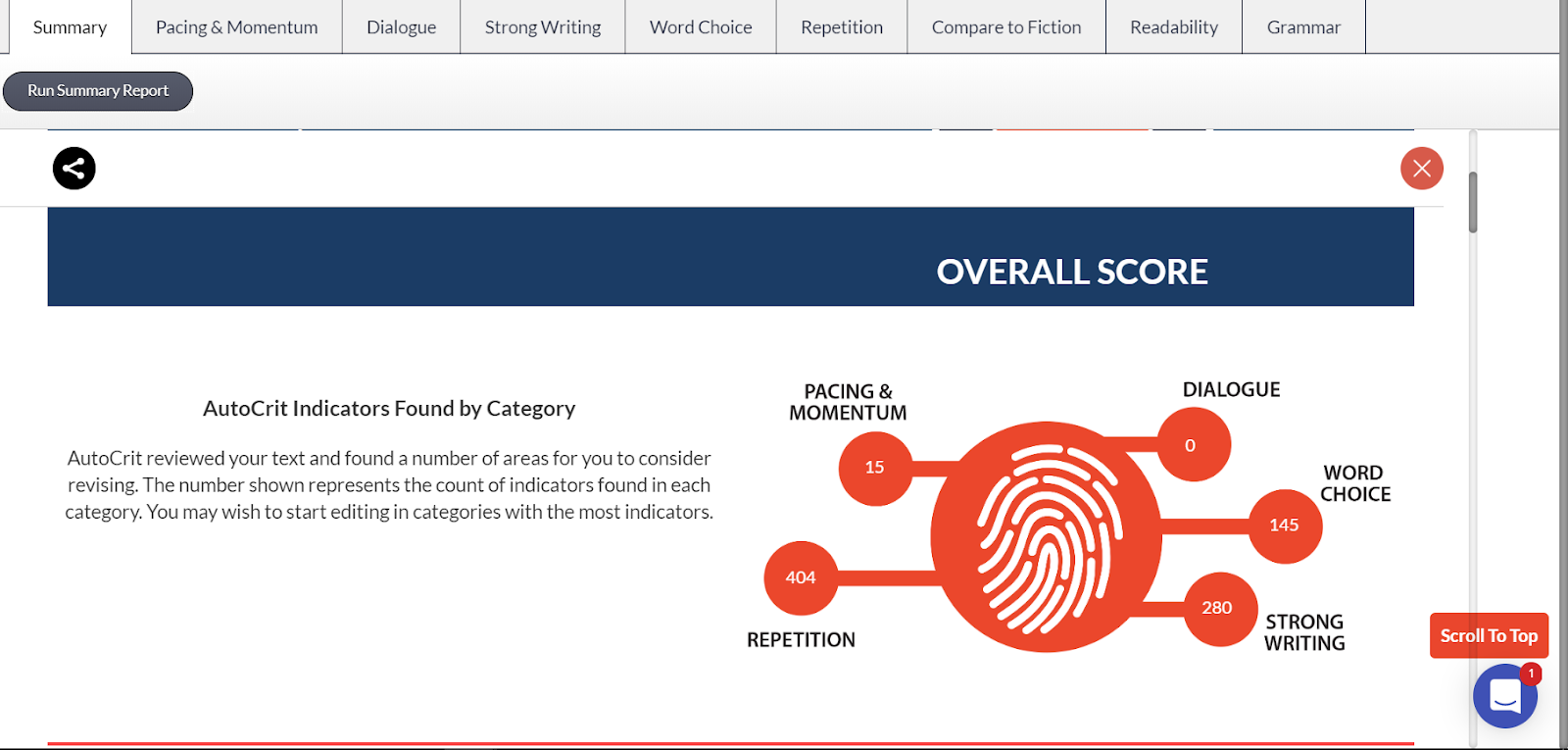 Sample Autocrit summary score