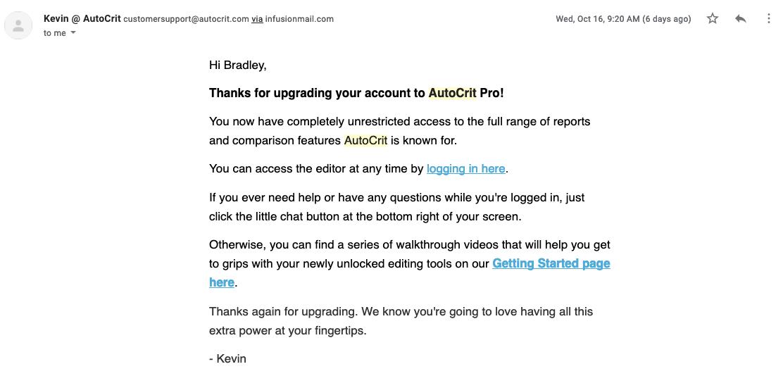AutoCrit Payment Receipt