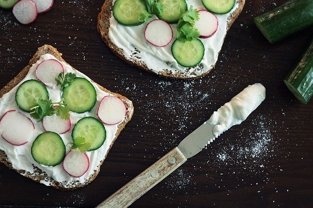 pickled radish and cucumber sandwich