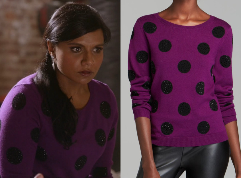 Performance rhinestones! What else is there to say? Except that I too would be dressing up if Danny Castellano was my personal trainer. Alice + Olivia Celyn Sequin Polka Dot Sweater - $178 (was $297) also available from Bergdorf Goodman, Saks and...