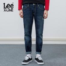 Lee男装 2018春夏新品X-line蓝色破洞牛仔裤L117093QJ8MY图片