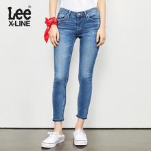 Lee女装 2018春夏新品X-line蓝色九分牛仔裤L124003AX8LG图片