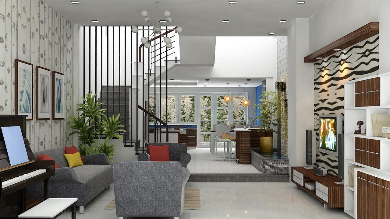 Trang trí phòng khách nhà vuông với cầu thang thông tầng