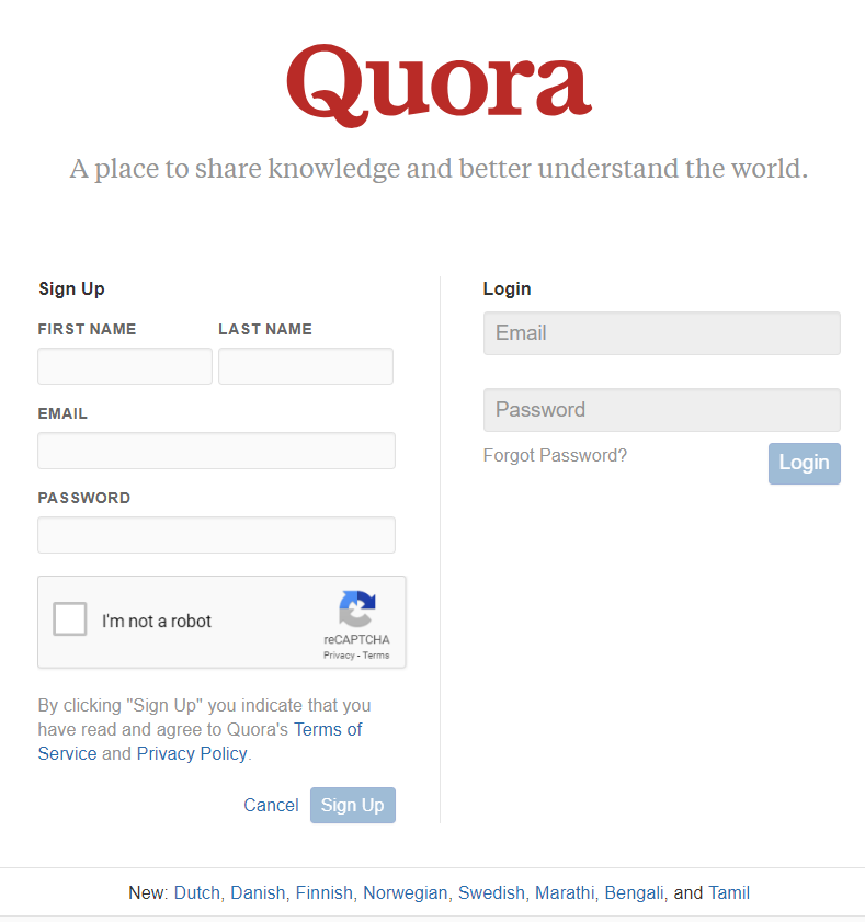Quora Sign Up Page
