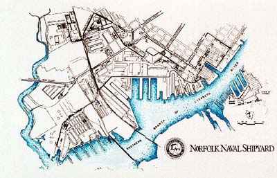 Graphic map of the Norfolk Naval Shipyard
