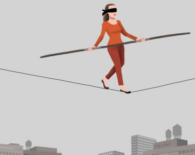 Caption: Proprioception – which enables us to balance and walk blindfolded - depends on PIEZO receptors expressed in 'stretch receptor' neurons. Illustration: Jorge Colombo