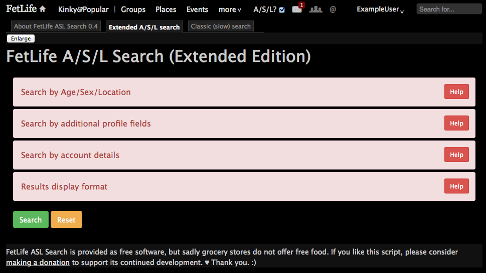 """Screenshot of the """"Extended A/S/L search"""" tab with all its panels closed."""