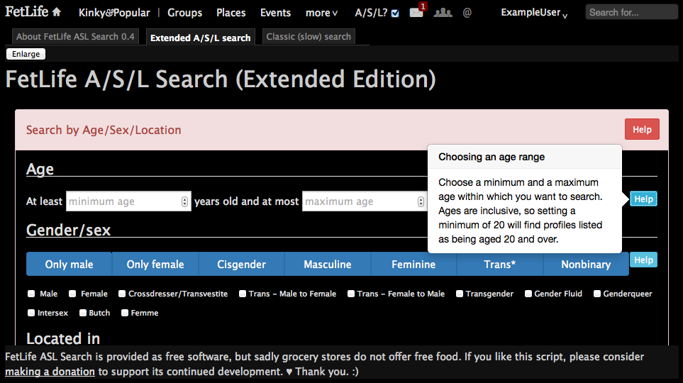 Screenshot of help text explaining how to choose an age range.