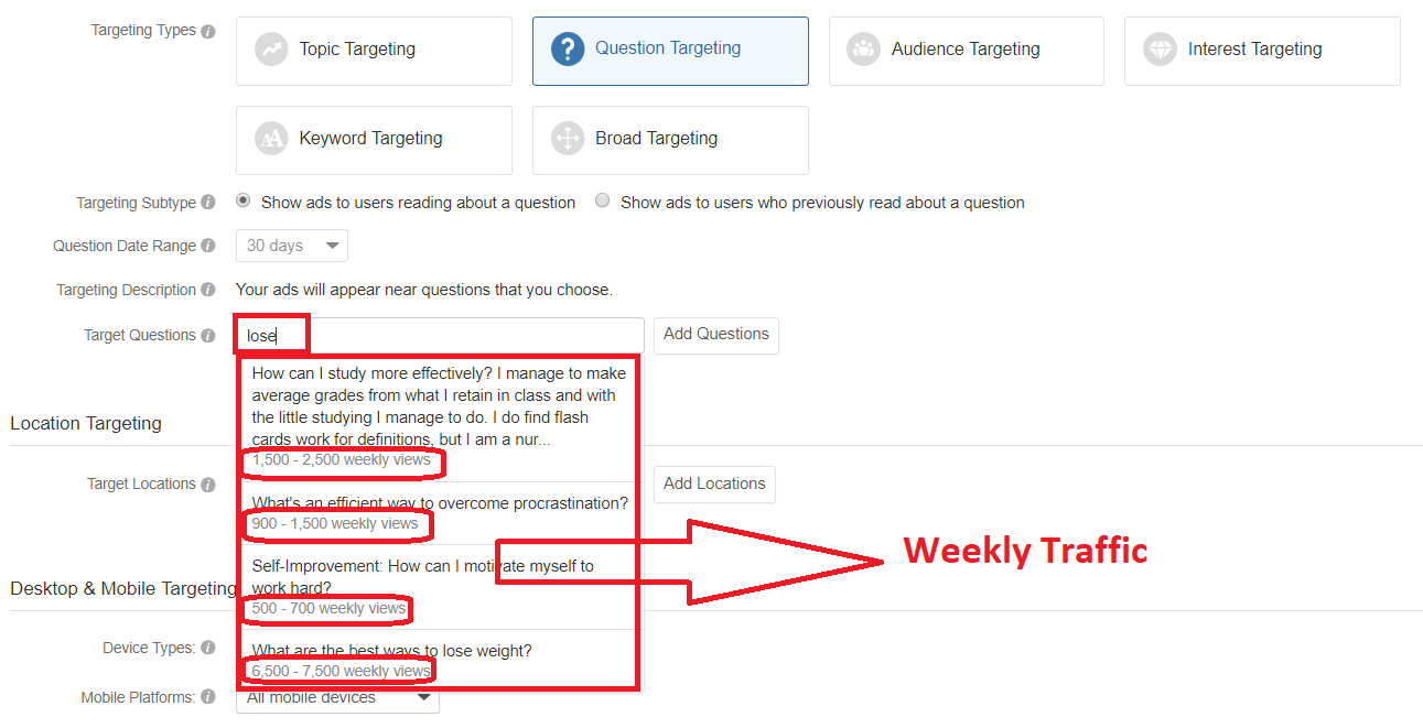 5th Way - Quora Ads: Smart way to fetch Trending high traffic questions on Quora