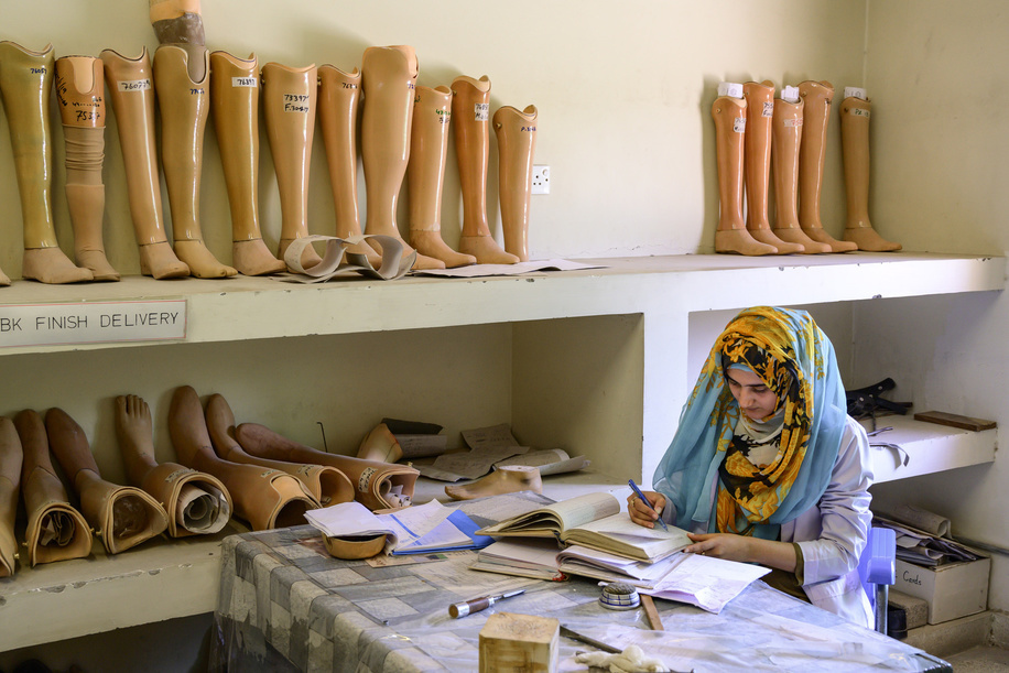 Islamabad, Pakistan - 8 May, 2019: Prothesis and Orthosis specialist at the Artificial Limb Centre of the Fauji Foundation Hospital (OPD Complex) in Rawalpindi, Pakistan.