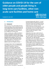 Guidance on COVID-19 for the care of older people and people living in long-term care facilities, other non-acute care facilities and home care